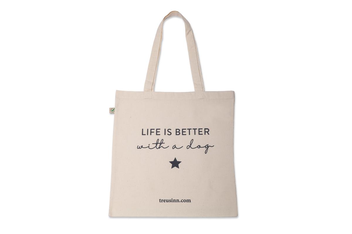 Treusinn Shopper CANVAS Life is better 38 x 40cm