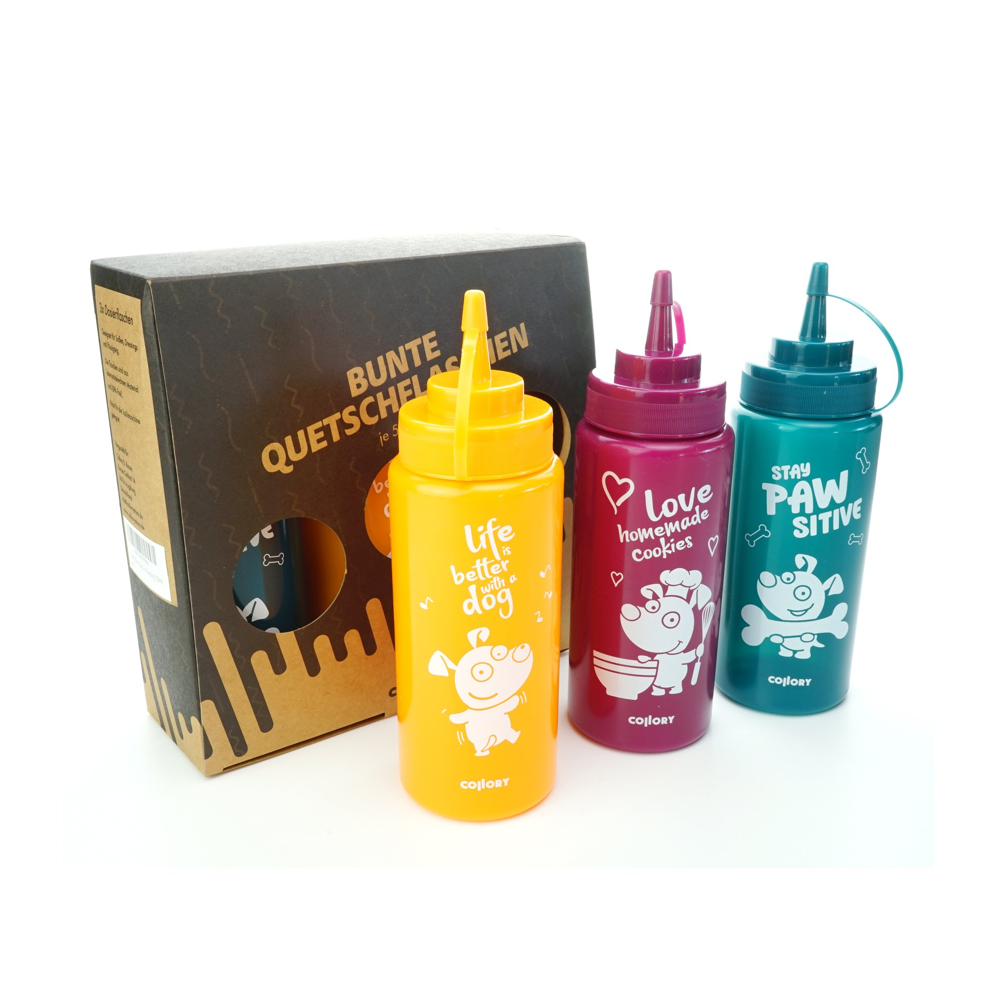 Collory Backmatte Quetschflasche 3er Set (orange+bordeauxrot+petrol)