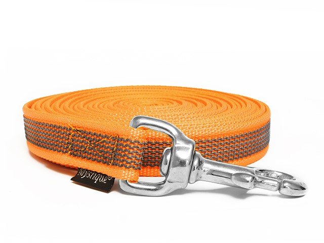 Mystique Gummierte Schleppleine 20mm neon orange 20m rostfrei Karabinerhaken