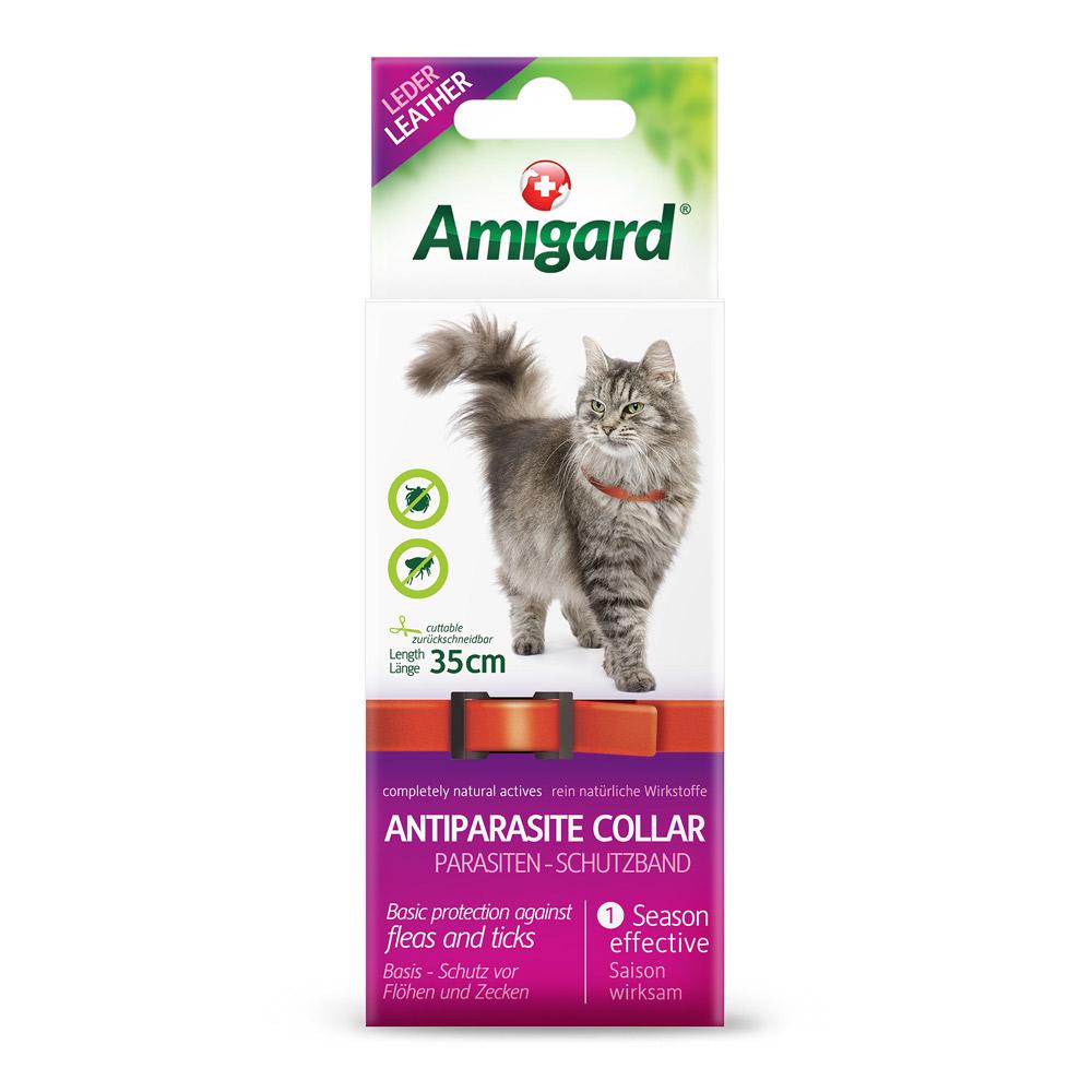 Amigard Parasiten-Schutzband, Katze, 35cm, Leder, rot