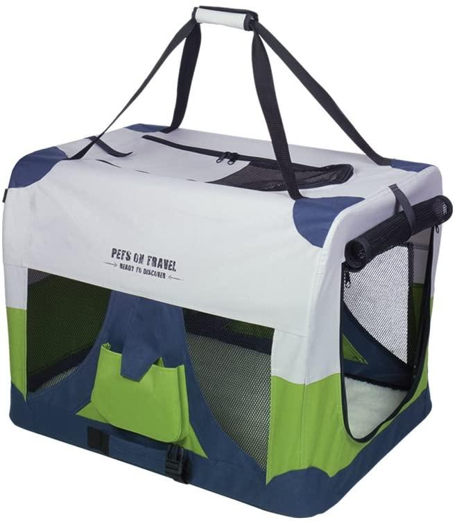 "Nobby Hundebox Traveller ""FASHION"" grau/blau/grün"