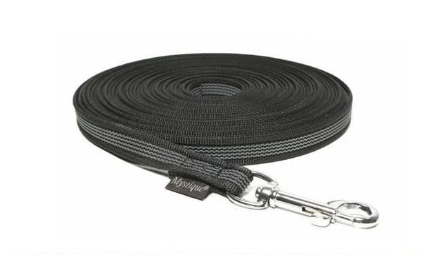 Mystique® Gummierte Schleppleine 12mm schwarz 20m rostfrei Karabinerhaken