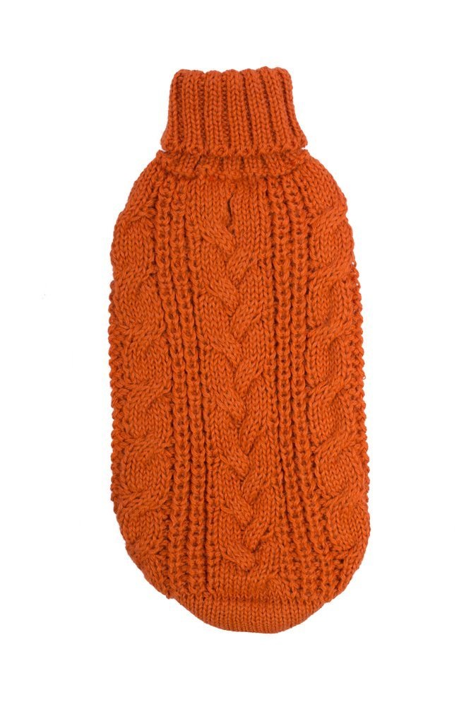 Alqo Wasi Hunde-Pullover Chunky Cable Knit Orange